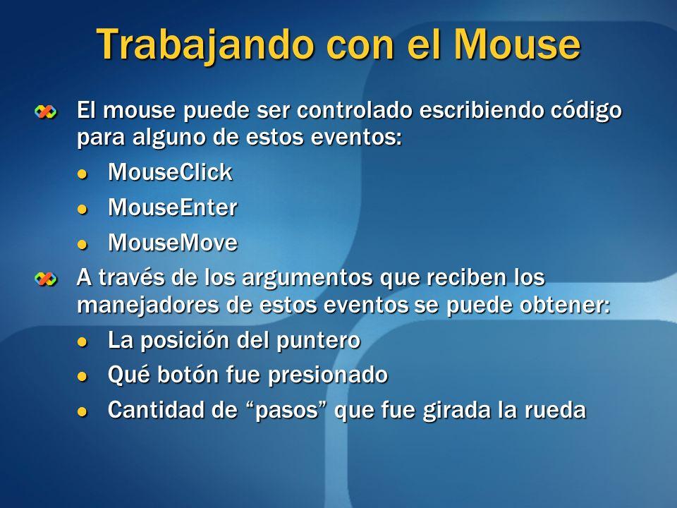 Trabajando con el Mouse