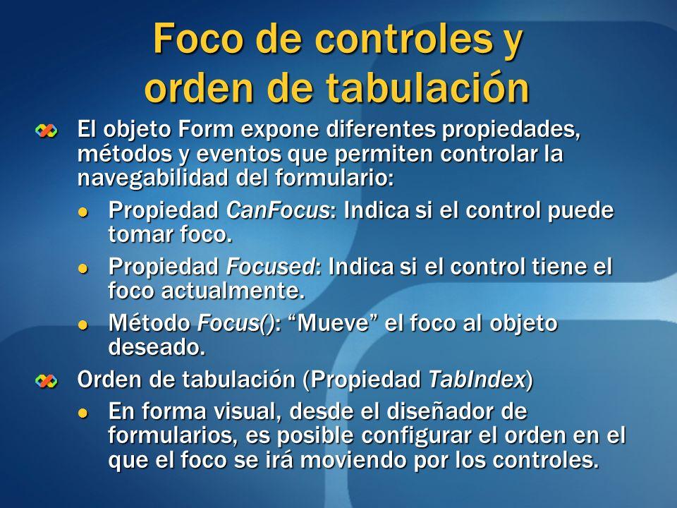 Foco de controles y orden de tabulación