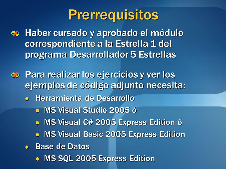 PrerrequisitosHaber cursado y aprobado el módulo correspondiente a la Estrella 1 del programa Desarrollador 5 Estrellas.