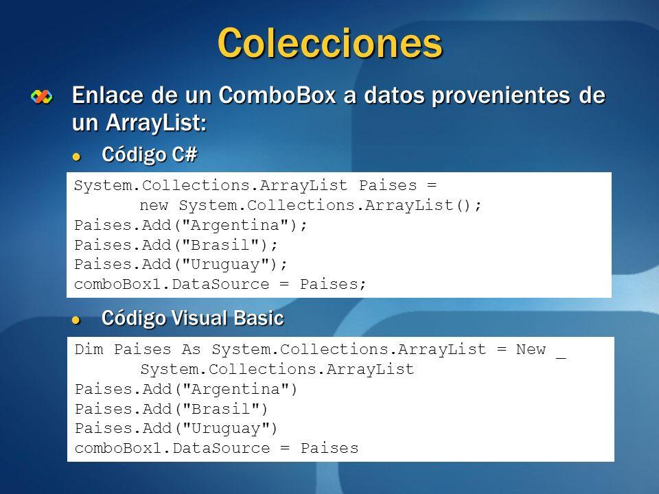 ColeccionesEnlace de un ComboBox a datos provenientes de un ArrayList: Código C# System.Collections.ArrayList Paises =