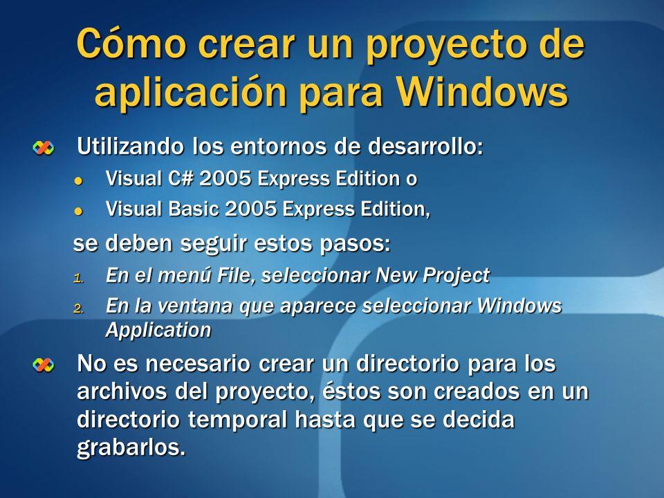Cómo crear un proyecto de aplicación para Windows