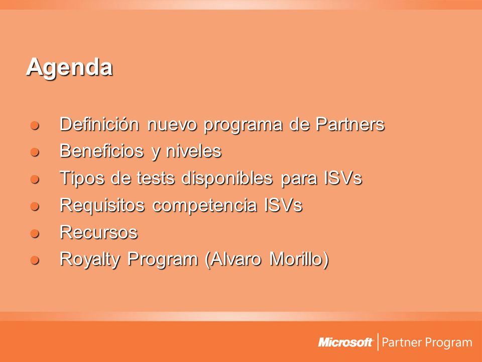 Agenda Definición nuevo programa de Partners Beneficios y niveles