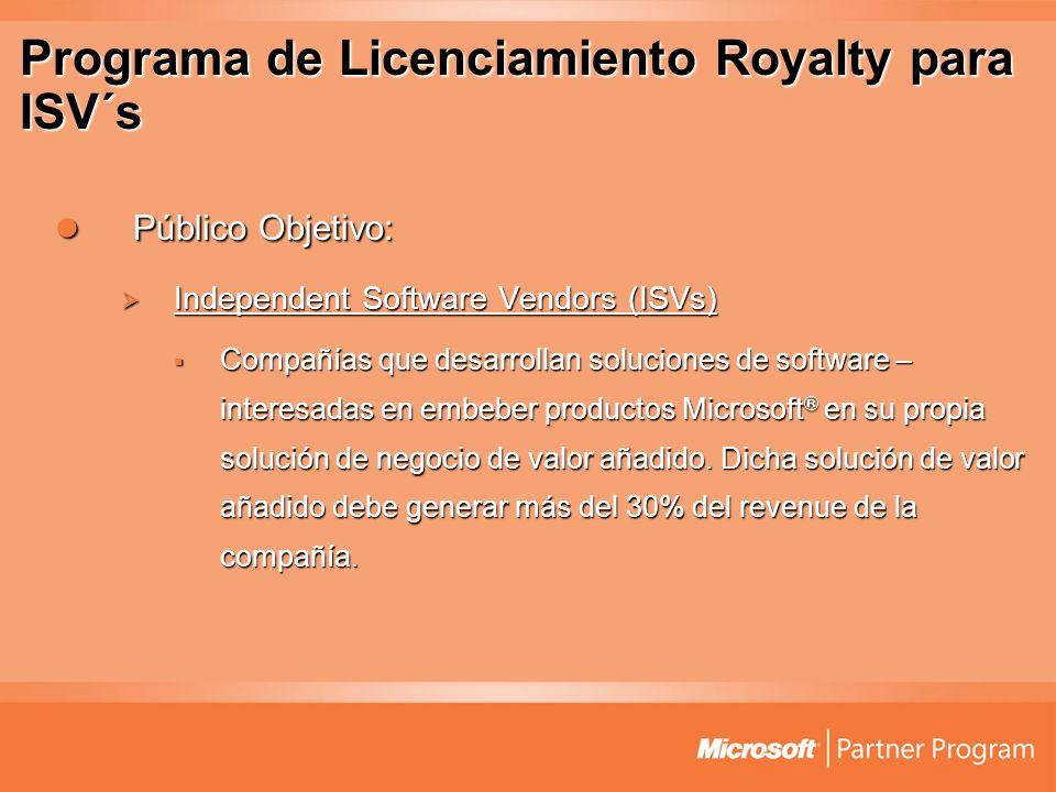 Programa de Licenciamiento Royalty para ISV´s