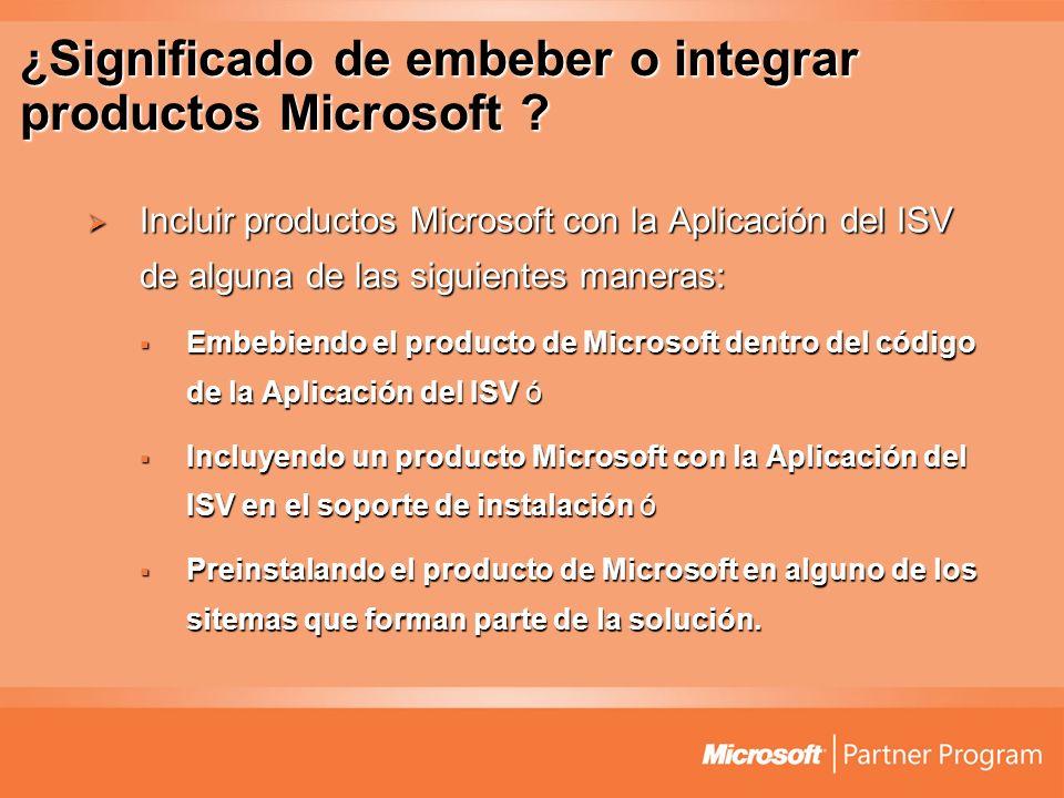 ¿Significado de embeber o integrar productos Microsoft