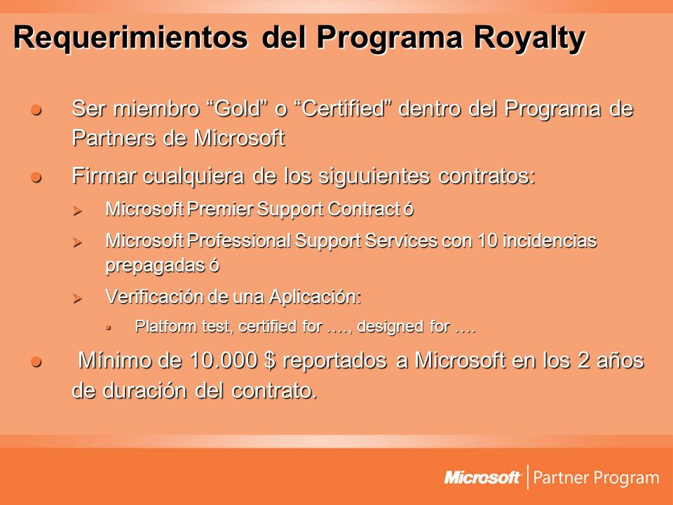 Requerimientos del Programa Royalty