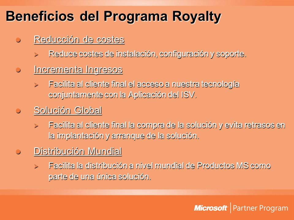Beneficios del Programa Royalty