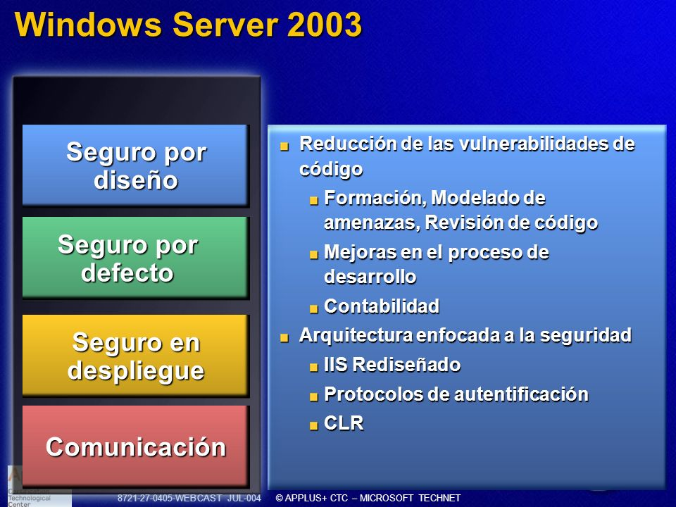 Windows Server 2003 Seguro por diseño Seguro por defecto