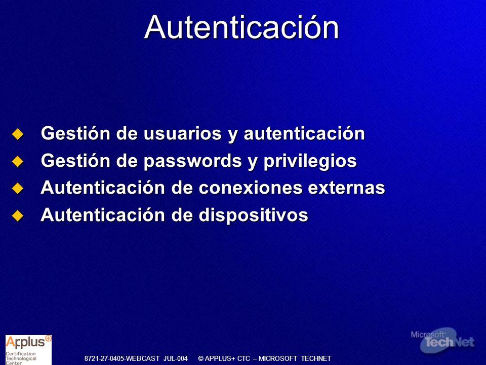 Autenticación Gestión de usuarios y autenticación