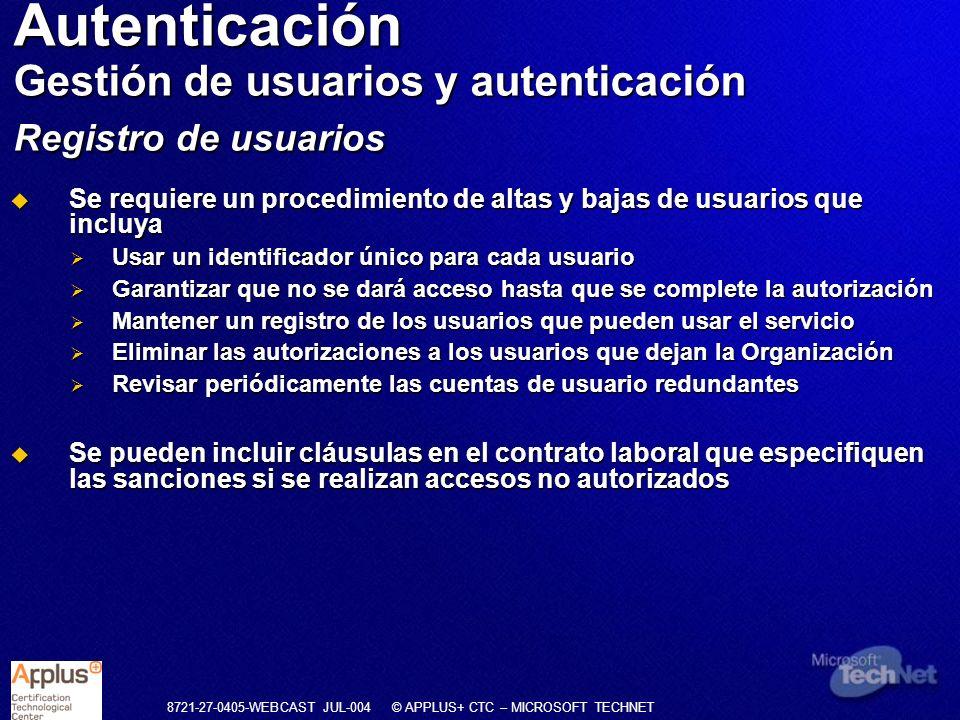Autenticación Gestión de usuarios y autenticación Registro de usuarios