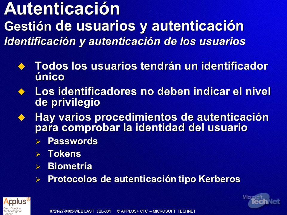 Autenticación Gestión de usuarios y autenticación Identificación y autenticación de los usuarios