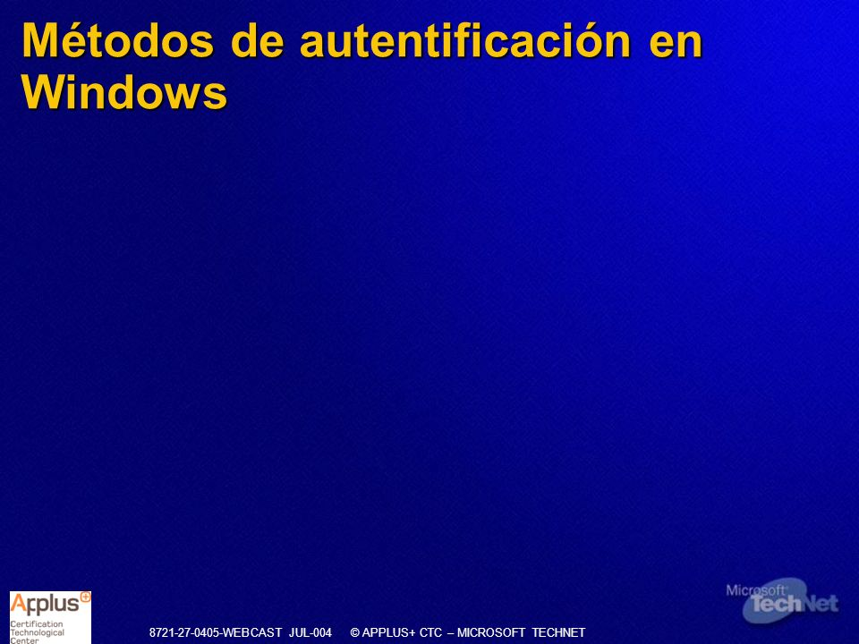 Métodos de autentificación en Windows