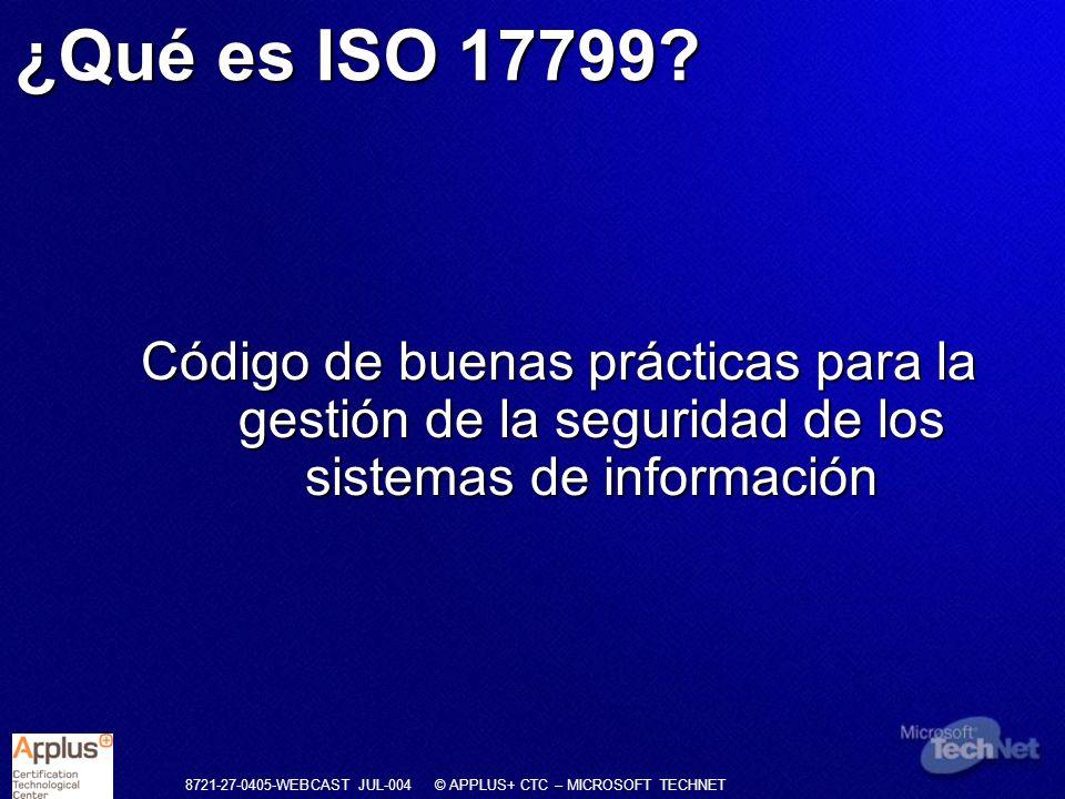 ¿Qué es ISO 17799.