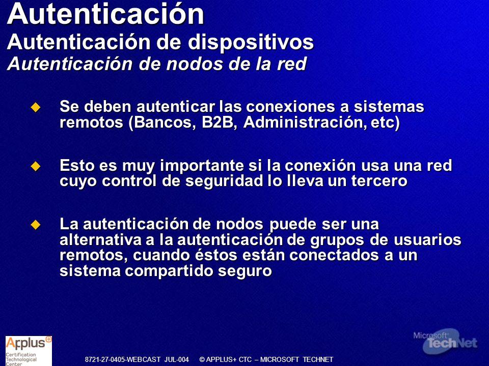 Autenticación Autenticación de dispositivos Autenticación de nodos de la red