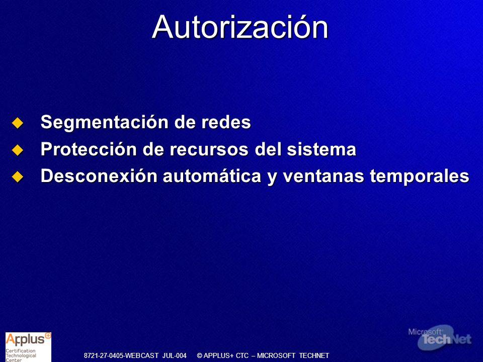 Autorización Segmentación de redes Protección de recursos del sistema