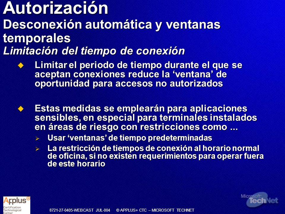 Autorización Desconexión automática y ventanas temporales Limitación del tiempo de conexión