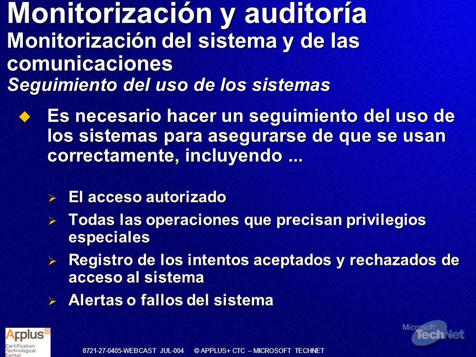 Monitorización y auditoría Monitorización del sistema y de las comunicaciones Seguimiento del uso de los sistemas