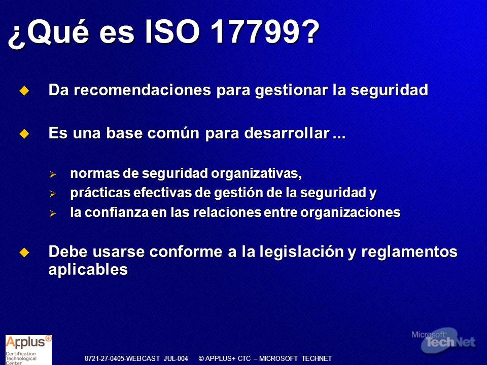 ¿Qué es ISO 17799 Da recomendaciones para gestionar la seguridad