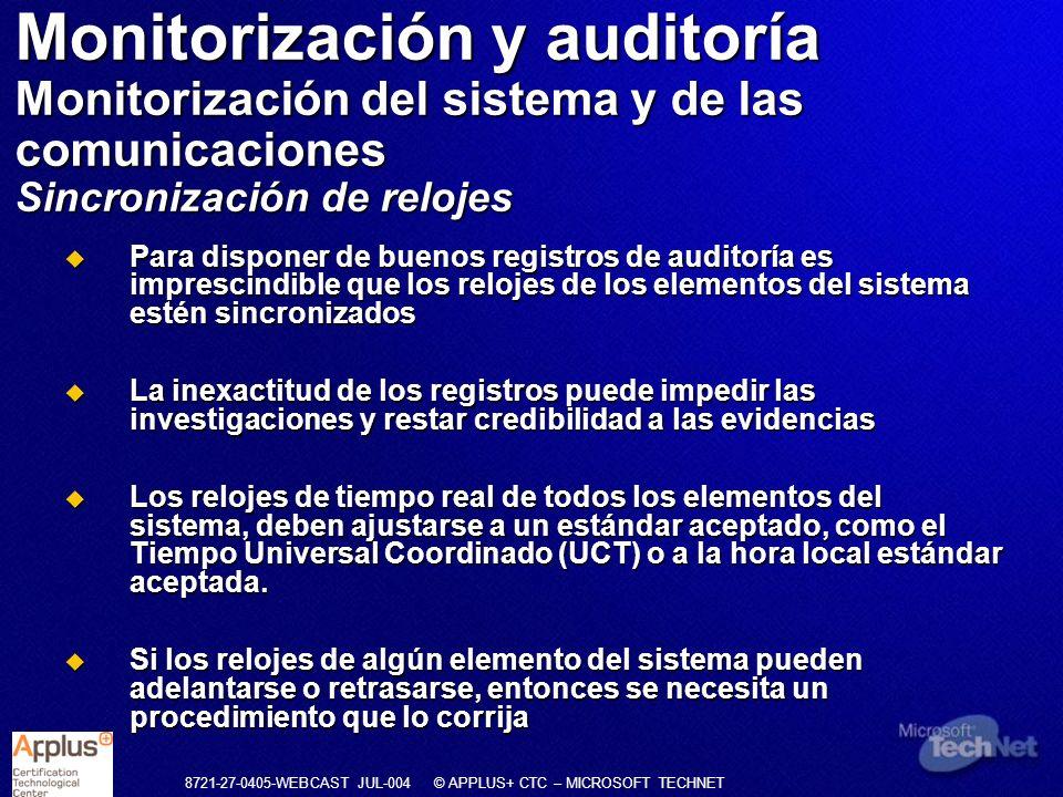 Monitorización y auditoría Monitorización del sistema y de las comunicaciones Sincronización de relojes