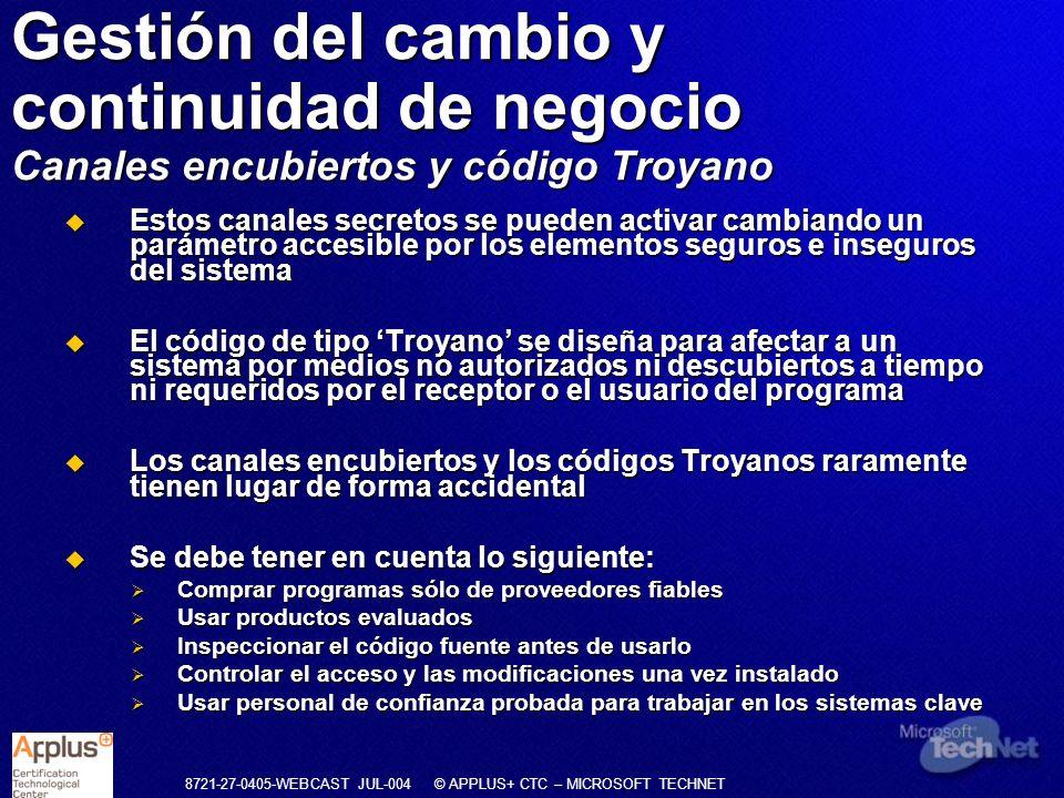Gestión del cambio y continuidad de negocio Canales encubiertos y código Troyano