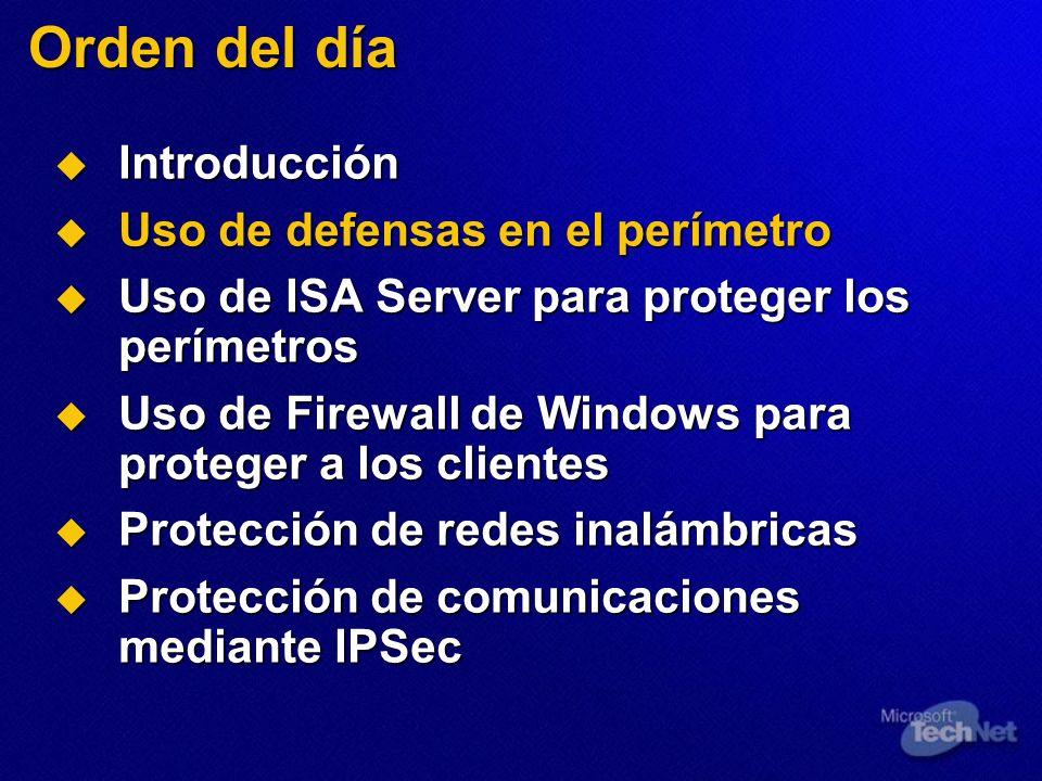 Orden del día Introducción Uso de defensas en el perímetro