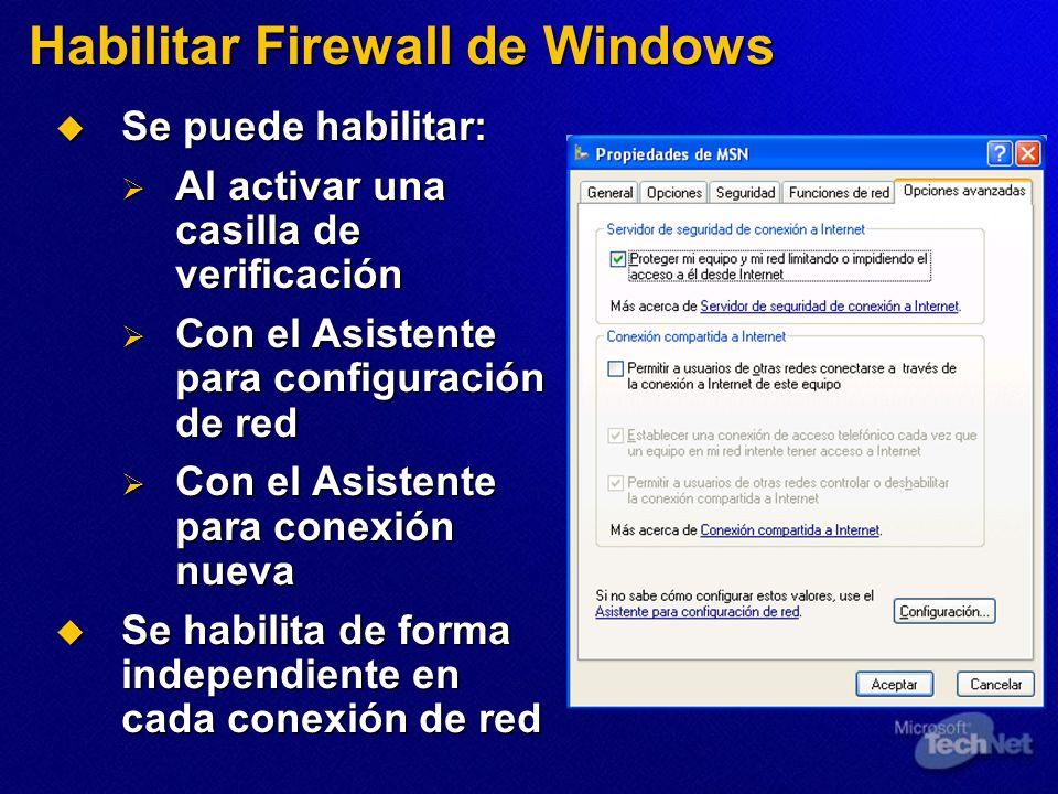Habilitar Firewall de Windows
