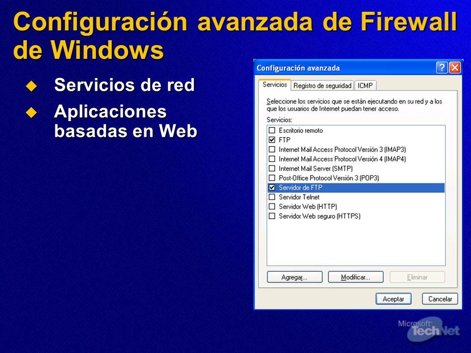 Configuración avanzada de Firewall de Windows