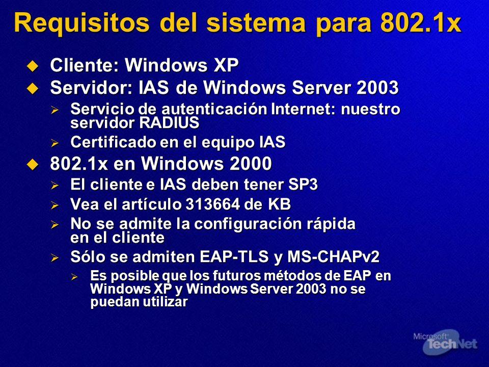 Requisitos del sistema para 802.1x