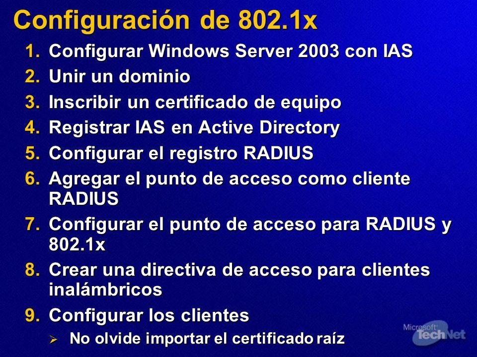 Configuración de 802.1x Configurar Windows Server 2003 con IAS