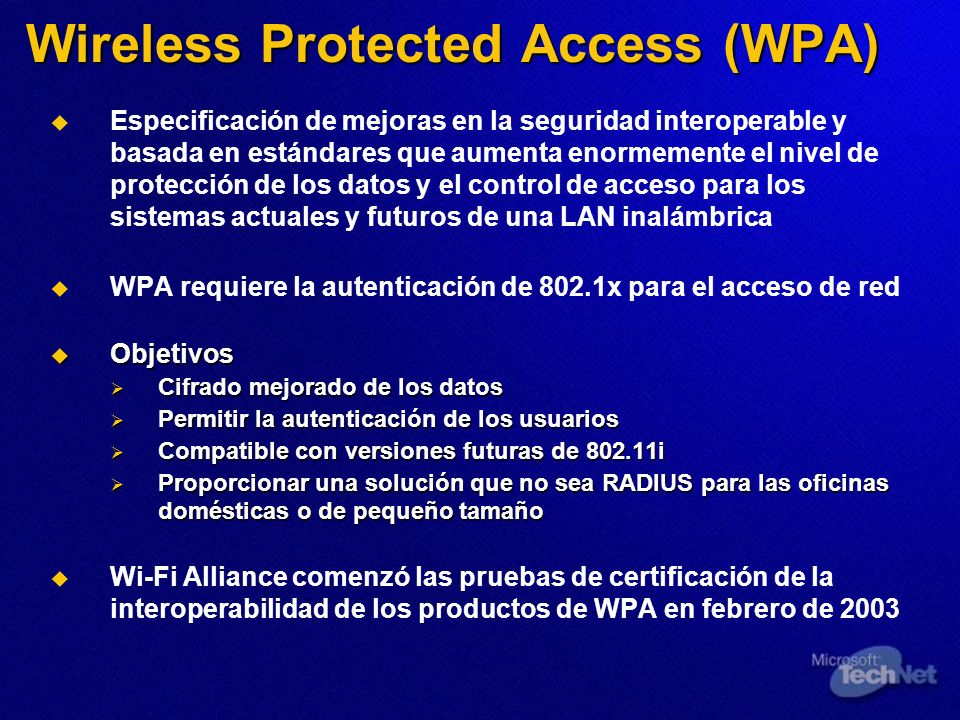 Wireless Protected Access (WPA)