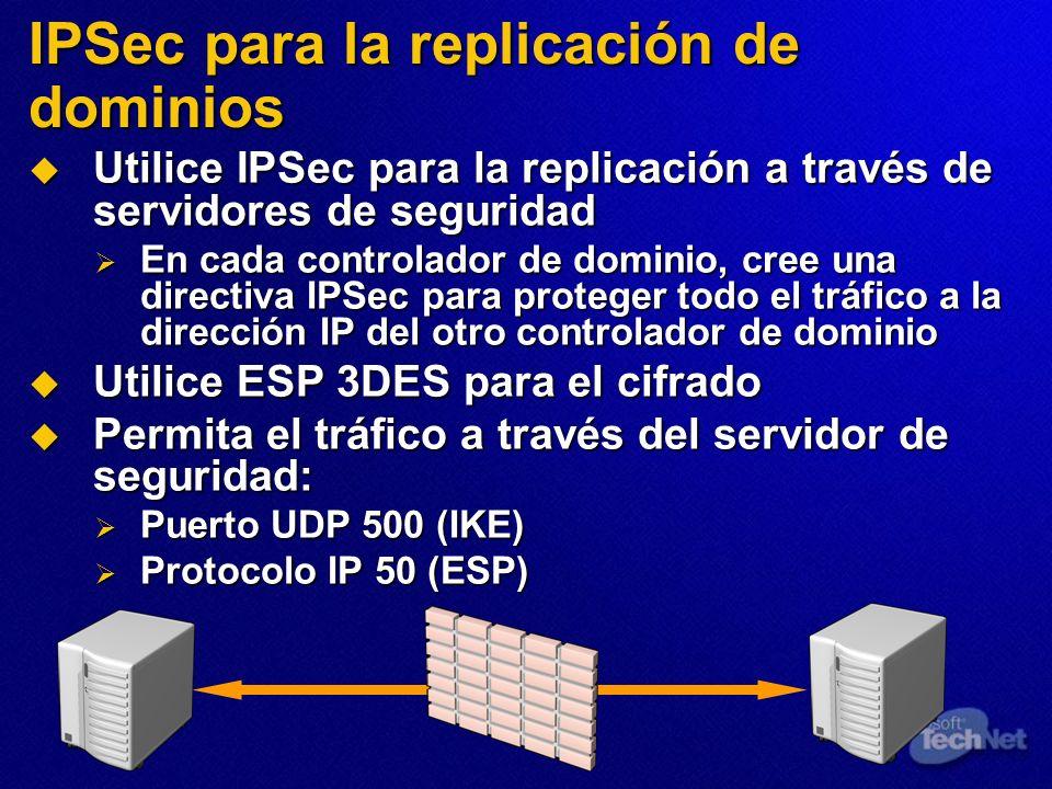 IPSec para la replicación de dominios