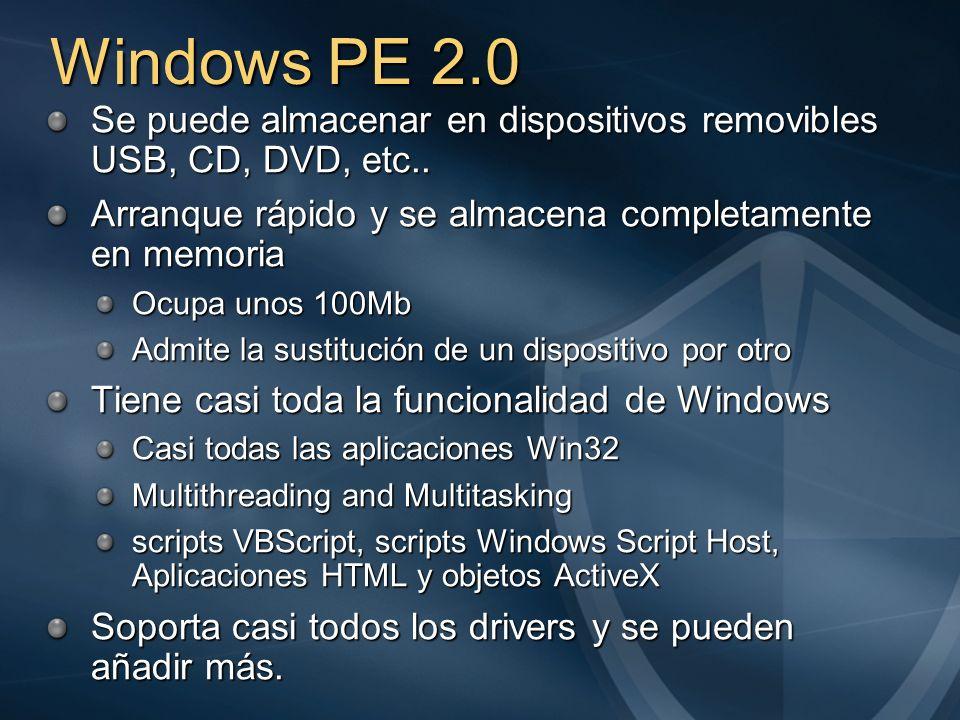 Windows PE 2.0 Se puede almacenar en dispositivos removibles USB, CD, DVD, etc.. Arranque rápido y se almacena completamente en memoria.