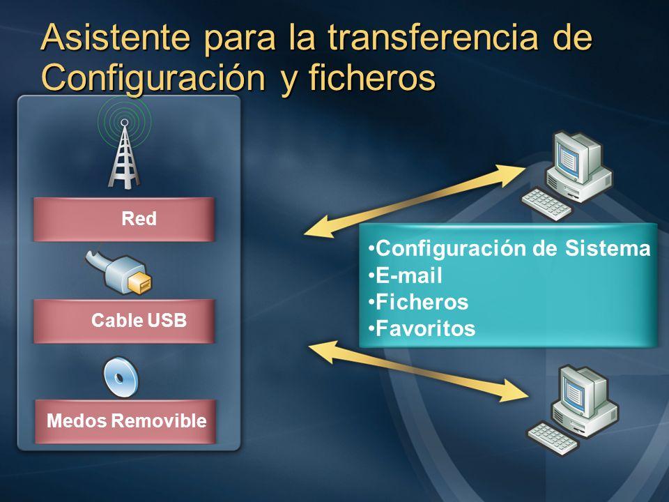 Asistente para la transferencia de Configuración y ficheros
