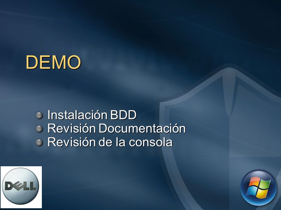 Instalación BDD Revisión Documentación Revisión de la consola