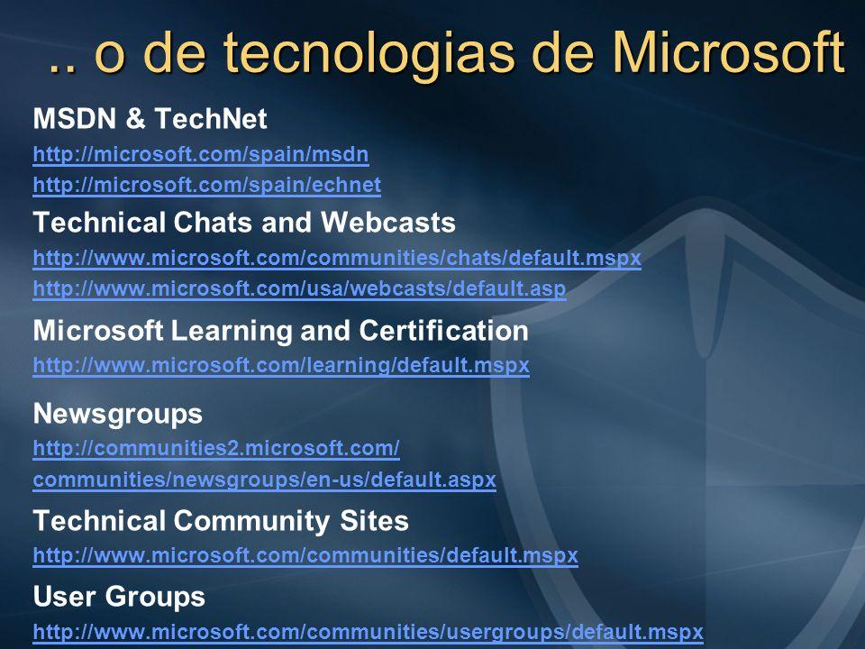 .. o de tecnologias de Microsoft