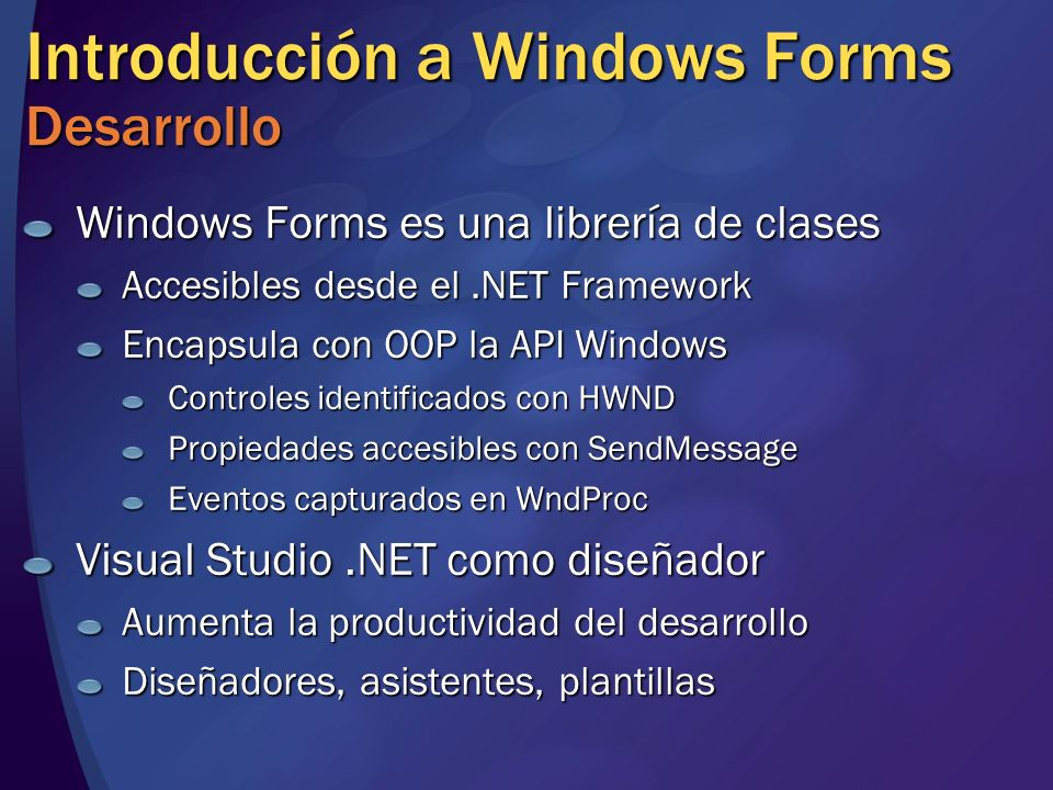 Introducción a Windows Forms Desarrollo