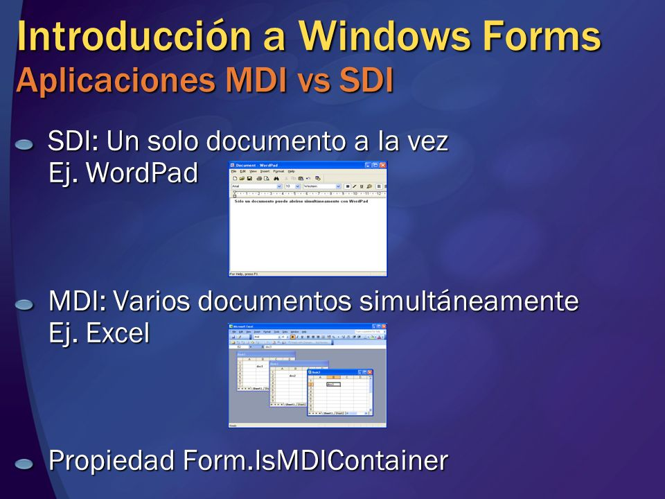 Introducción a Windows Forms Aplicaciones MDI vs SDI