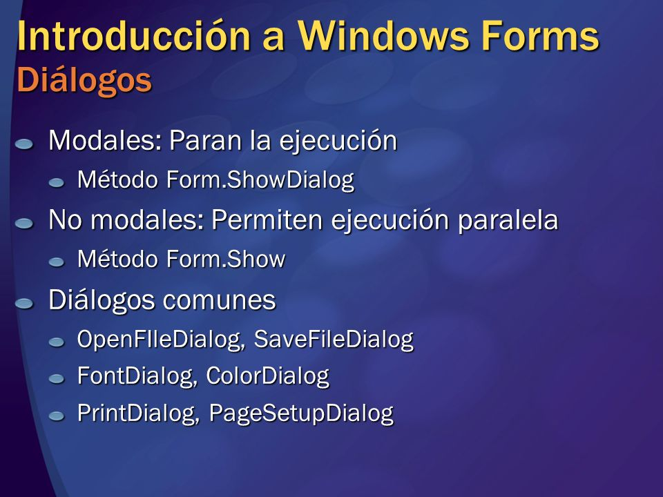 Introducción a Windows Forms Diálogos