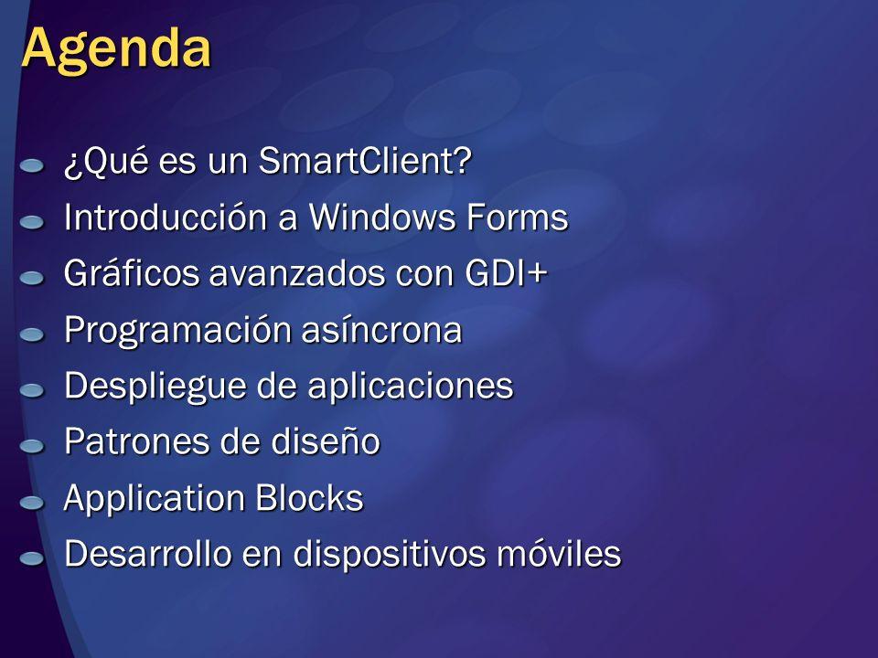 Agenda ¿Qué es un SmartClient Introducción a Windows Forms