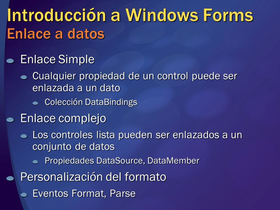 Introducción a Windows Forms Enlace a datos