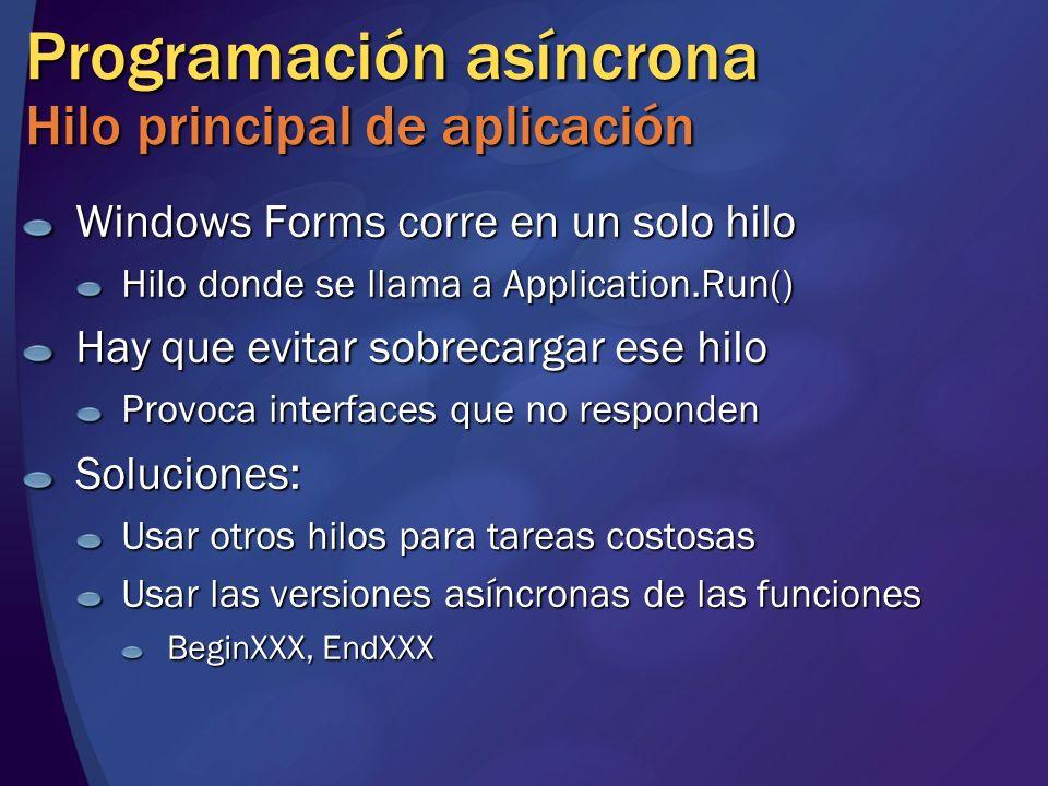 Programación asíncrona Hilo principal de aplicación