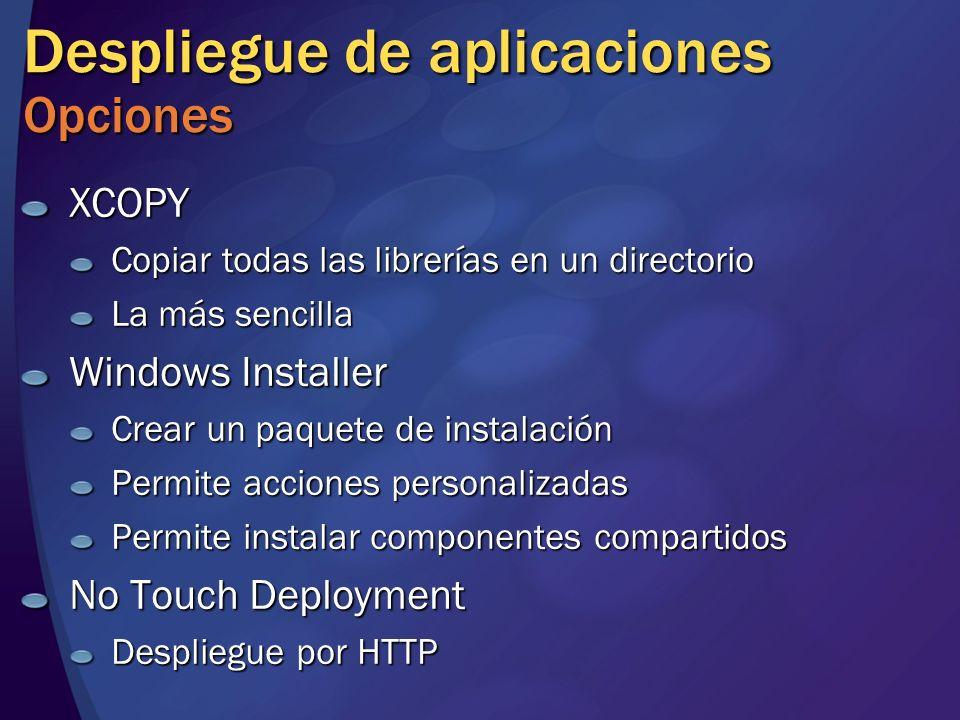 Despliegue de aplicaciones Opciones