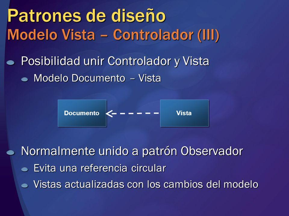 Patrones de diseño Modelo Vista – Controlador (III)