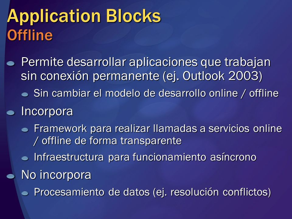 Application Blocks Offline