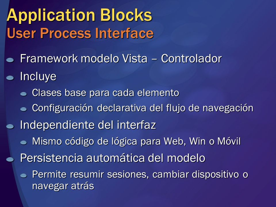Application Blocks User Process Interface
