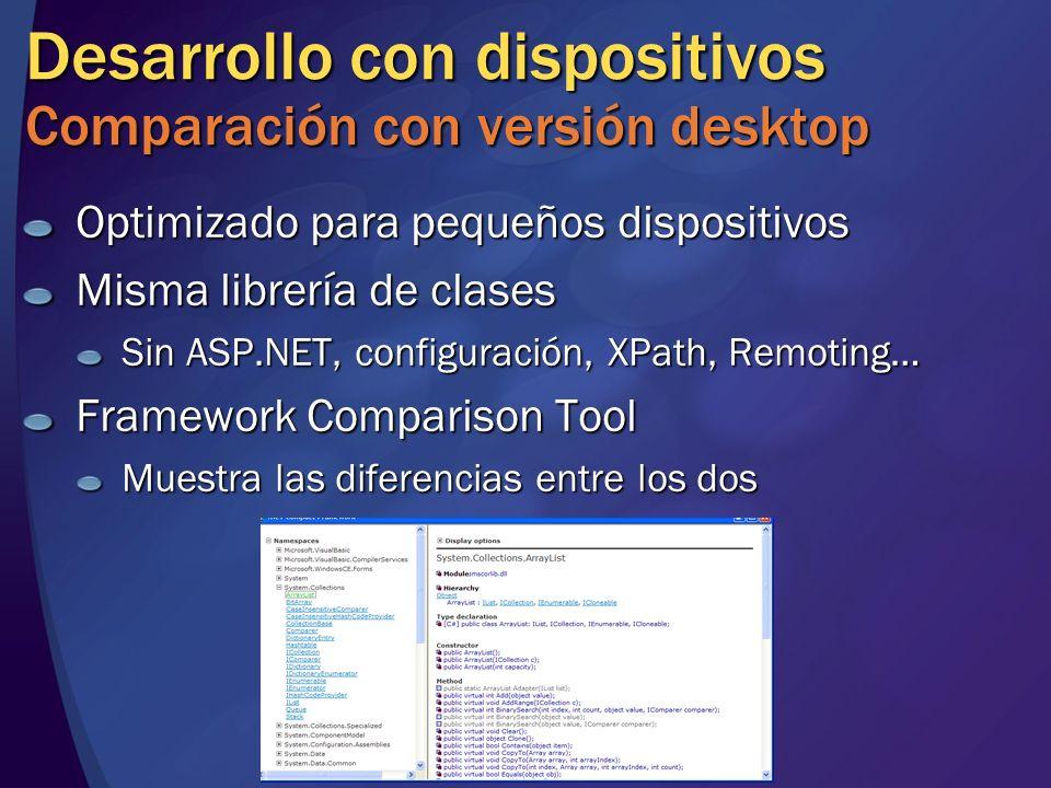Desarrollo con dispositivos Comparación con versión desktop