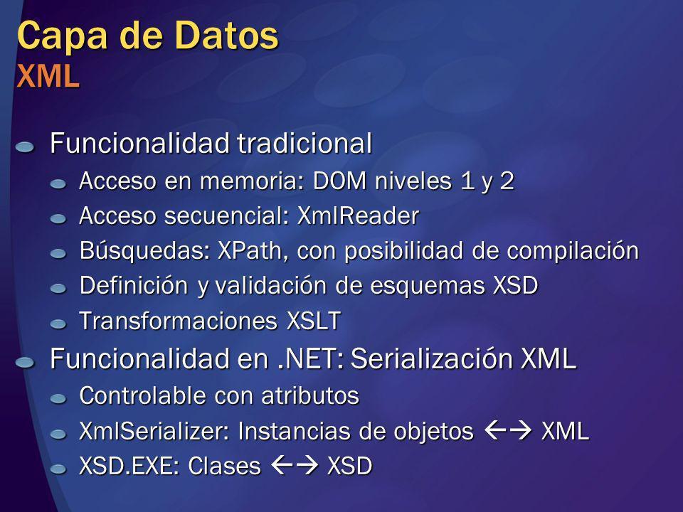 Capa de Datos XML Funcionalidad tradicional