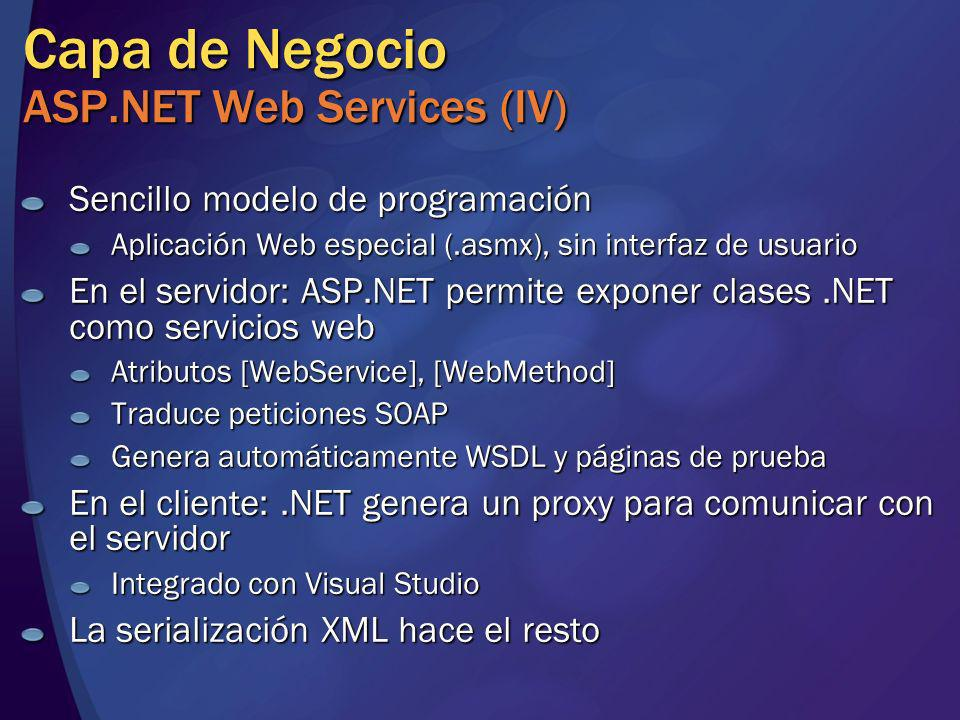Capa de Negocio ASP.NET Web Services (IV)