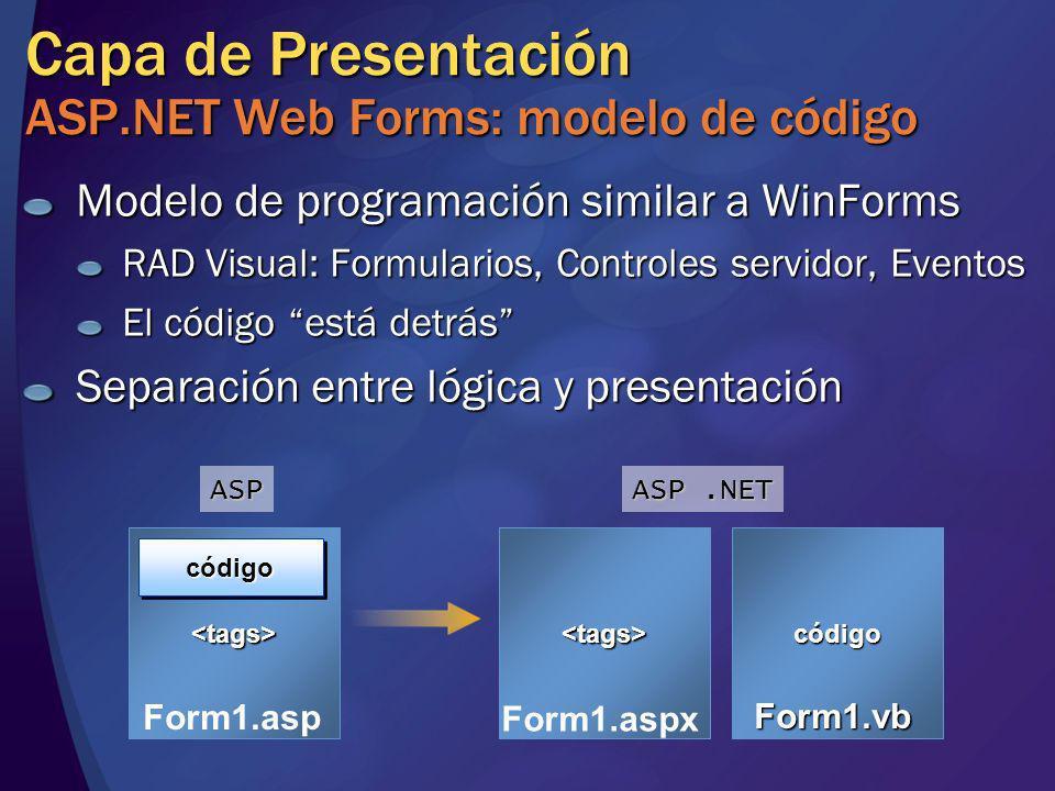 Capa de Presentación ASP.NET Web Forms: modelo de código