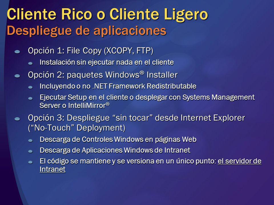 Cliente Rico o Cliente Ligero Despliegue de aplicaciones