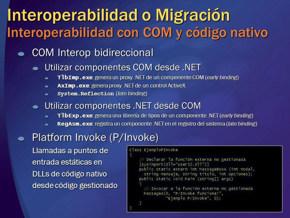 Interoperabilidad o Migración Interoperabilidad con COM y código nativo